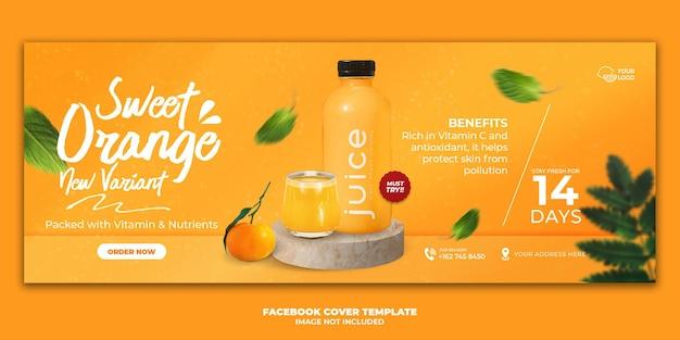 Modello di banner di copertina di facebook per menu di bevande di succo d'arancia per la promozione del ristorante