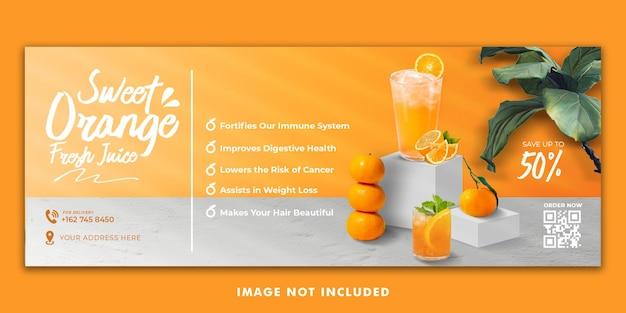 Modello di banner copertina facebook menu bevanda succo d'arancia per la promozione del ristorante