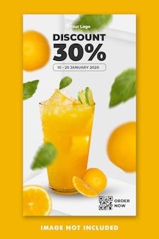 Modello di storie di instagram di social media per il menu di bevande di succo d'arancia per la promozione del ristorante