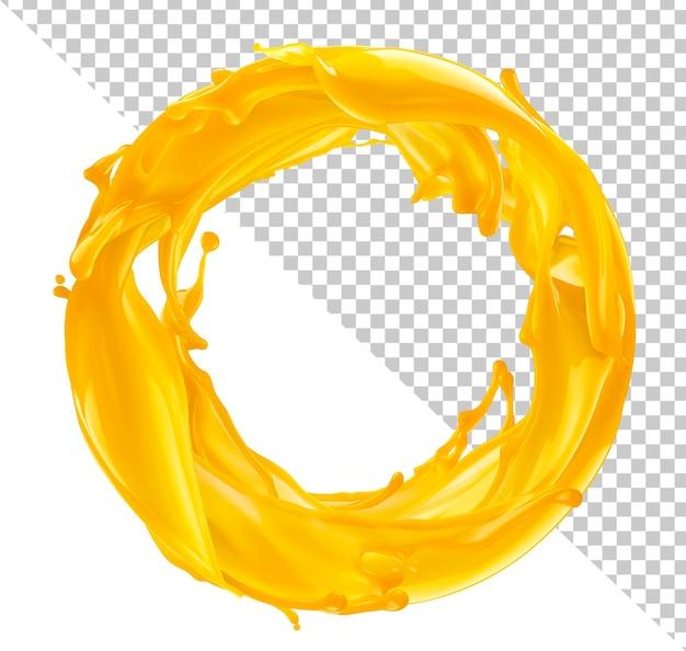 Spruzzata di succo d'arancia isolata