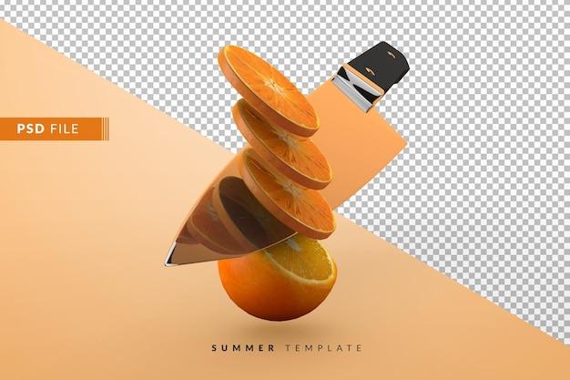Rendering isolato coltello e arancia