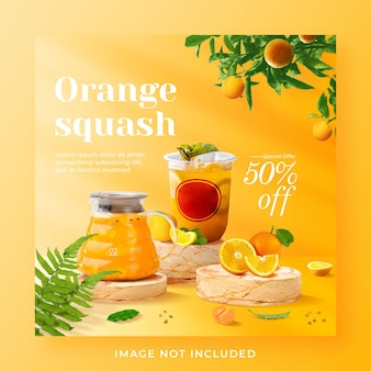 Orange squash drink menu promozione social media instagram post banner template