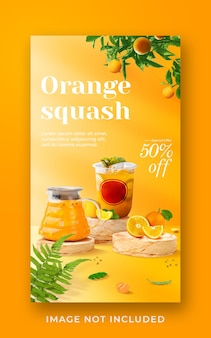 Orange squash drink menu promozione social media instagram story banner template