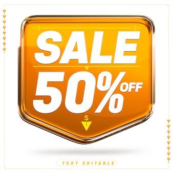 Banner arancione super vendita 3d