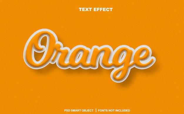 Effetto di testo arancione. oggetto intelligente di testo modificabile