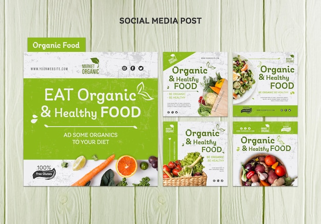 Modello di post sui social media di concetto di cibo biologico