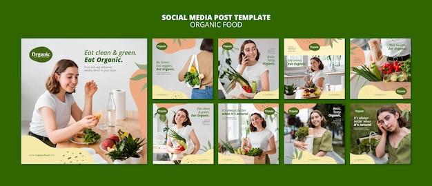 Modello di post sui social media di alimenti biologici