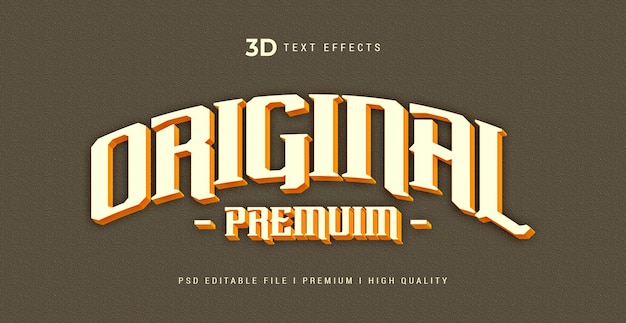 Modello di effetto stile testo originale 3d