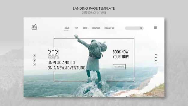 Modello di pagina di destinazione del concetto di avventure all'aria aperta