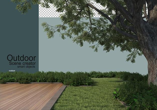Un cortile esterno con grandi alberi e arbusti in primo piano