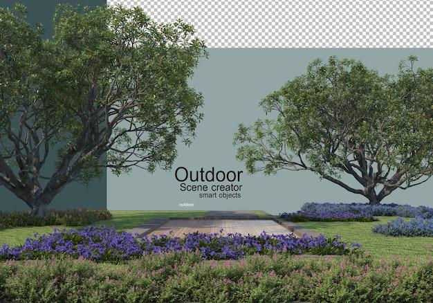 Un cortile esterno con grandi alberi e arbusti in primo piano Psd Premium