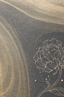 Delineare la decorazione floreale sull'illustrazione del fondo di scintillio dell'oro