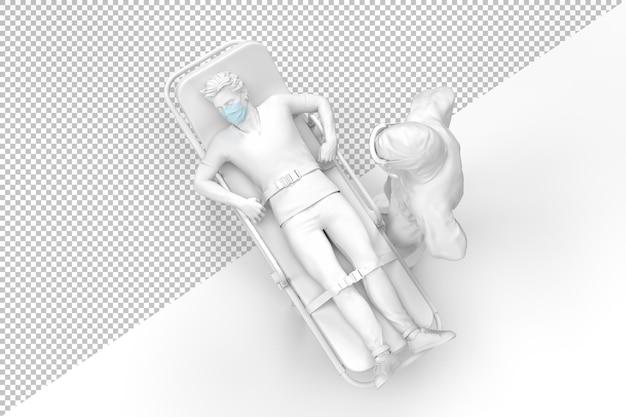 Vista dall'alto del medico in tuta protettiva e paziente malato su un rendering di barella