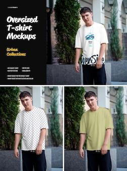 T-shirt oversize mockup urban style. il design è facile nella personalizzazione della maglietta di design delle immagini, della maglietta colorata, della trama di erica.