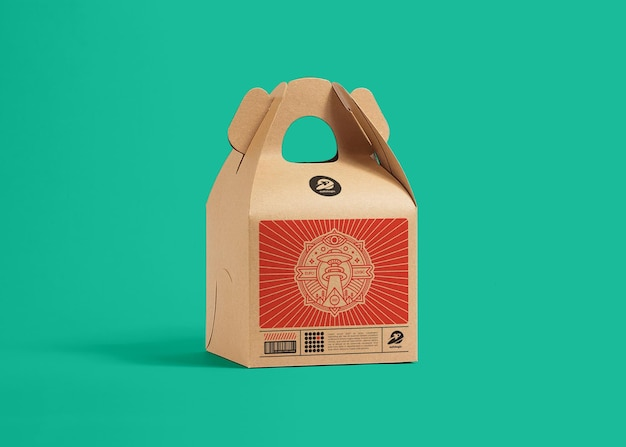 Concetto di mockup di scatola di cartone di imballaggio