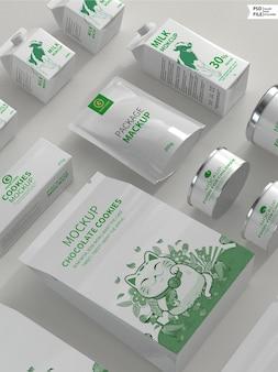 Modello di set di prodotti di imballaggio