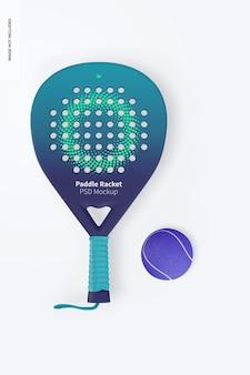 Paddle racket mockup, vista dall'alto