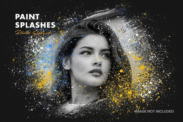 Modello di effetto foto di schizzi di vernice