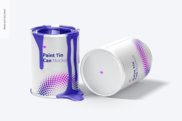Mockup di lattine di vernice, aperto