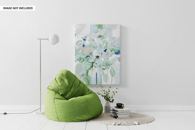 Dipingere la tela sul muro nel mockup del luogo di riposo
