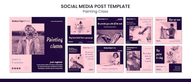 Modello di post sui social media di classe di pittura
