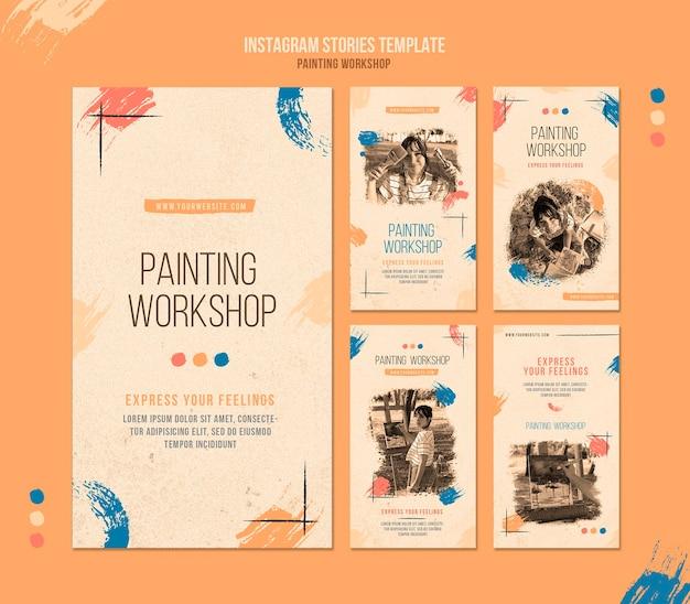 Laboratorio di pittura sulle storie dei social media