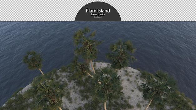 Isola di palme vicino al fiume vista a volo d'uccello