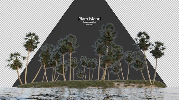 Isola di palme vicino al fiume che rende isolata