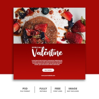 Pancake strawberry red template social media post valentine