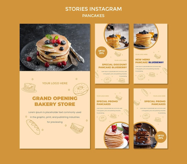 Modello di storie di instagram ristorante frittelle