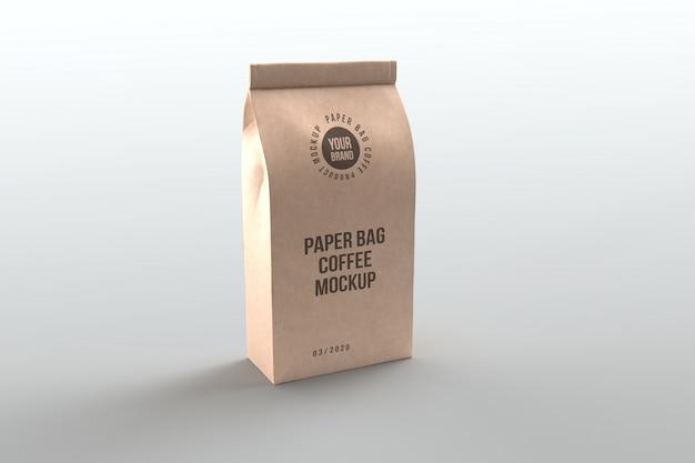 Mockup di prodotti di caffè in sacchetto di carta
