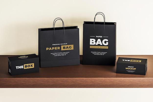 Scatola mockup sacchetto di carta nero realistico