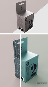 Vista laterale mezza scatola di carta
