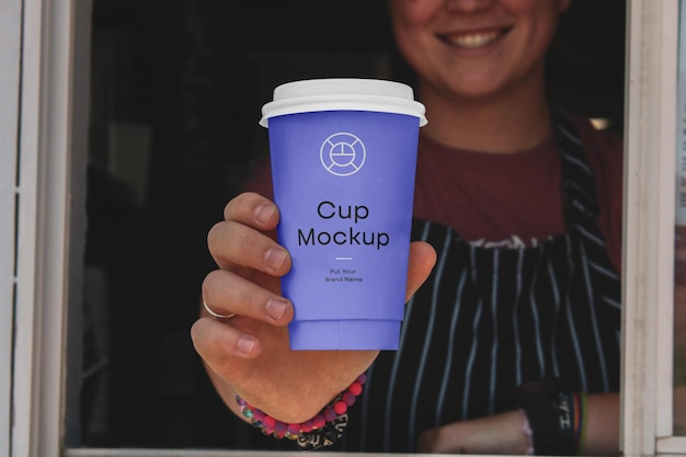 Paper cafe cup mockup