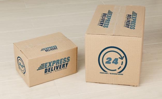 Modello di mockup di scatole di cartone di carta per il vostro disegno