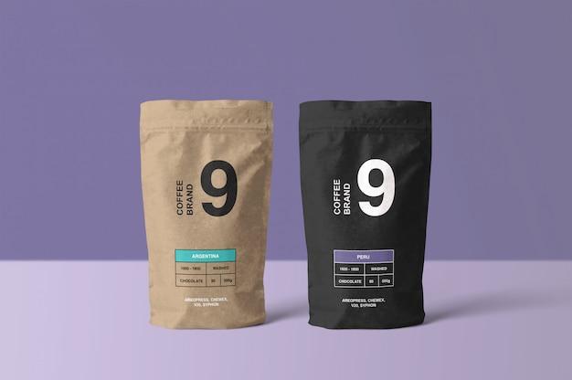 Mockup di sacchetto di caffè di carta