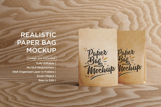 Design mockup di sacchetti di caffè in carta