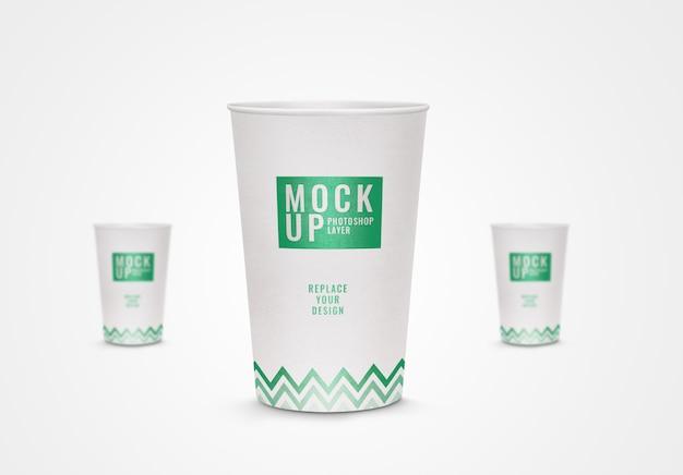 Rappresentazione realistica 3d del modello della tazza di carta