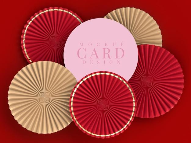 Medaglione di ventaglio di carta per la decorazione di capodanno con mockup di carte.