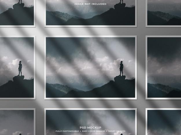 Mockup di collage di cornice per foto di carta con ombra