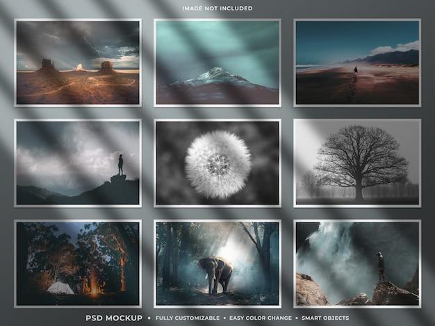 Mockup di collage di mostra di foto di carta con ombra