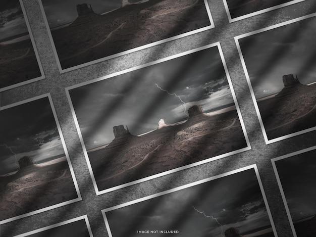 Mockup di collage di mostra di cornice fotografica di carta con ombra