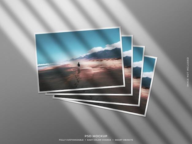 Mockup di cornice per foto in carta con ombra