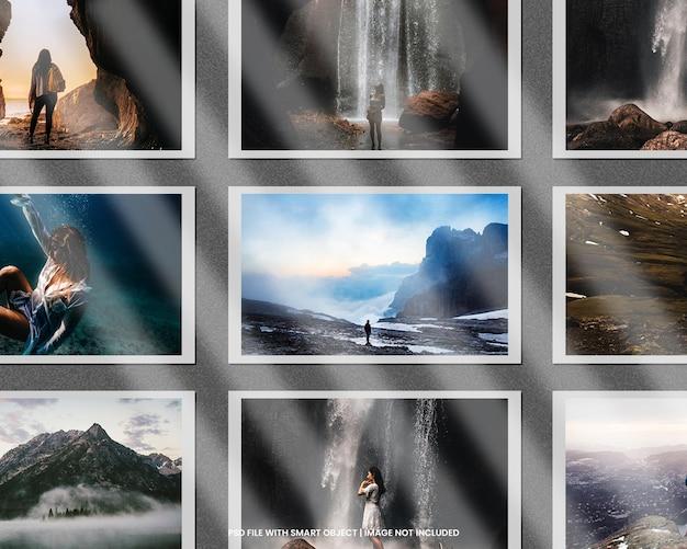 Modello di mockup polaroid con cornice per foto in carta psd premium