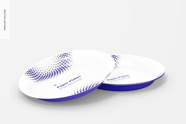 Mockup di piatti di carta, vista prospettica