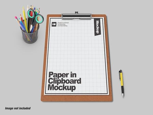 Foglio di carta nel mockup degli appunti