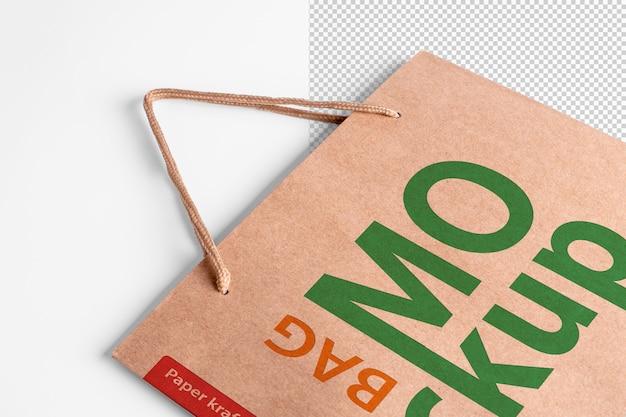Modello di imballaggio mockup sacchetto della spesa di carta con logo in vista prospettica