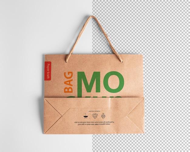 Modello di imballaggio mockup sacchetto della spesa di carta con logo in vista dall'alto