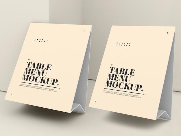 Mockup del menu della tenda della tabella di carta