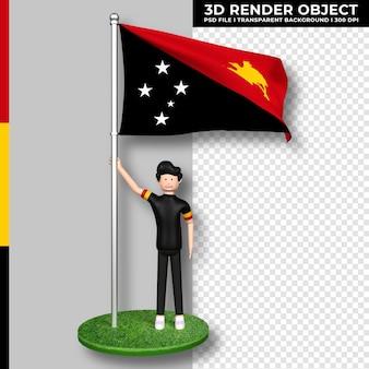 Bandiera della papua nuova guinea con personaggio dei cartoni animati di persone carine giorno dell'indipendenza. rendering 3d.